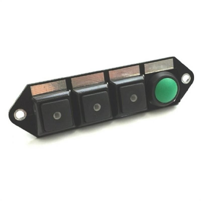 Cartek kontaktpanel til relæ box. 3 sorte knapper samt start knap