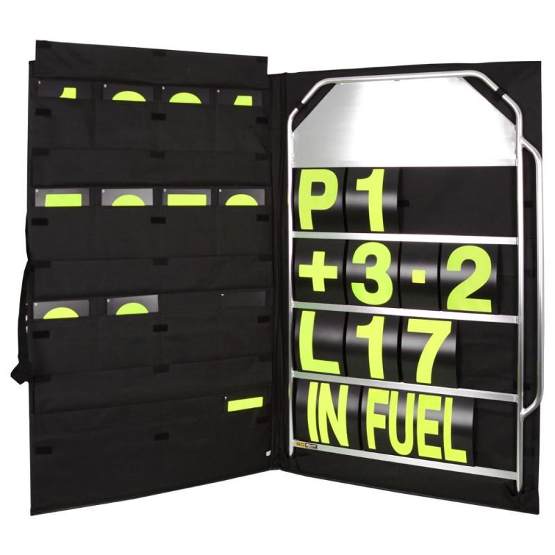 B-G Racing stort pitboard inkl. skilte og taske. Flere farve muligheder på skilte
