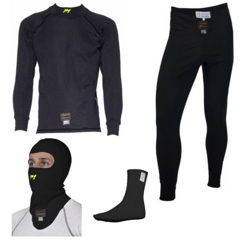 P1 sort undertøjssæt (undertrøje, underbukser, strømper og balaclava)